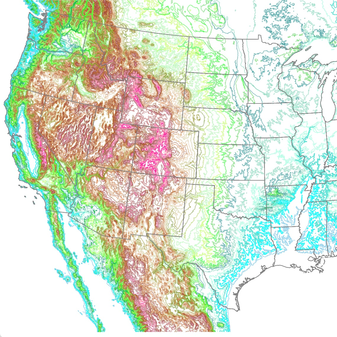 Map of America's Topography
