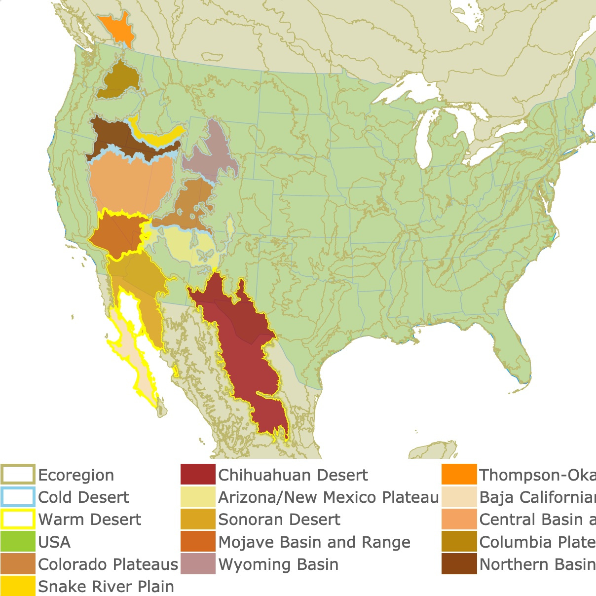Map of North American Deserts