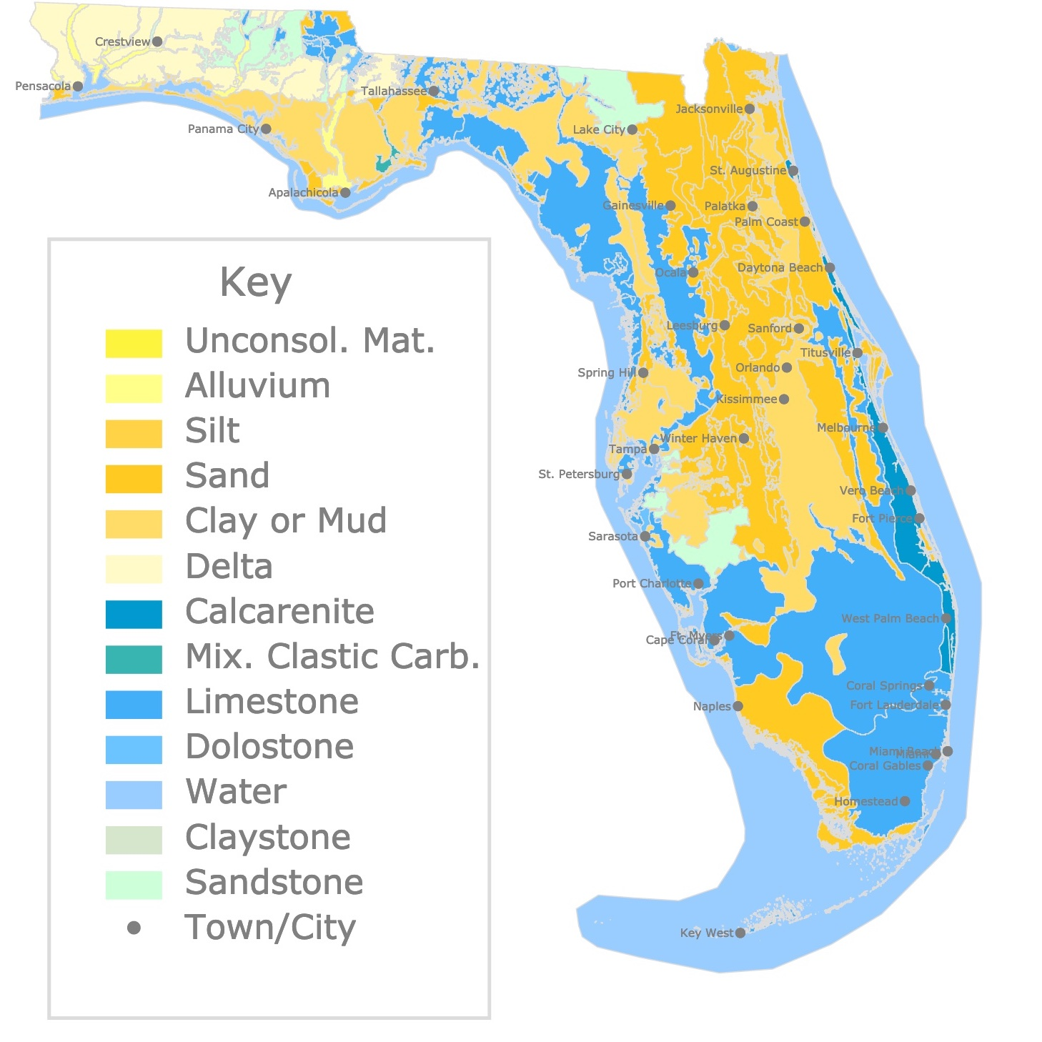 Map of Florida's geology