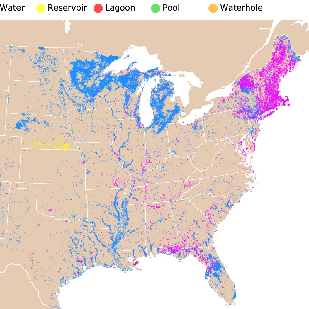 Map of Lakes and Ponds in the US