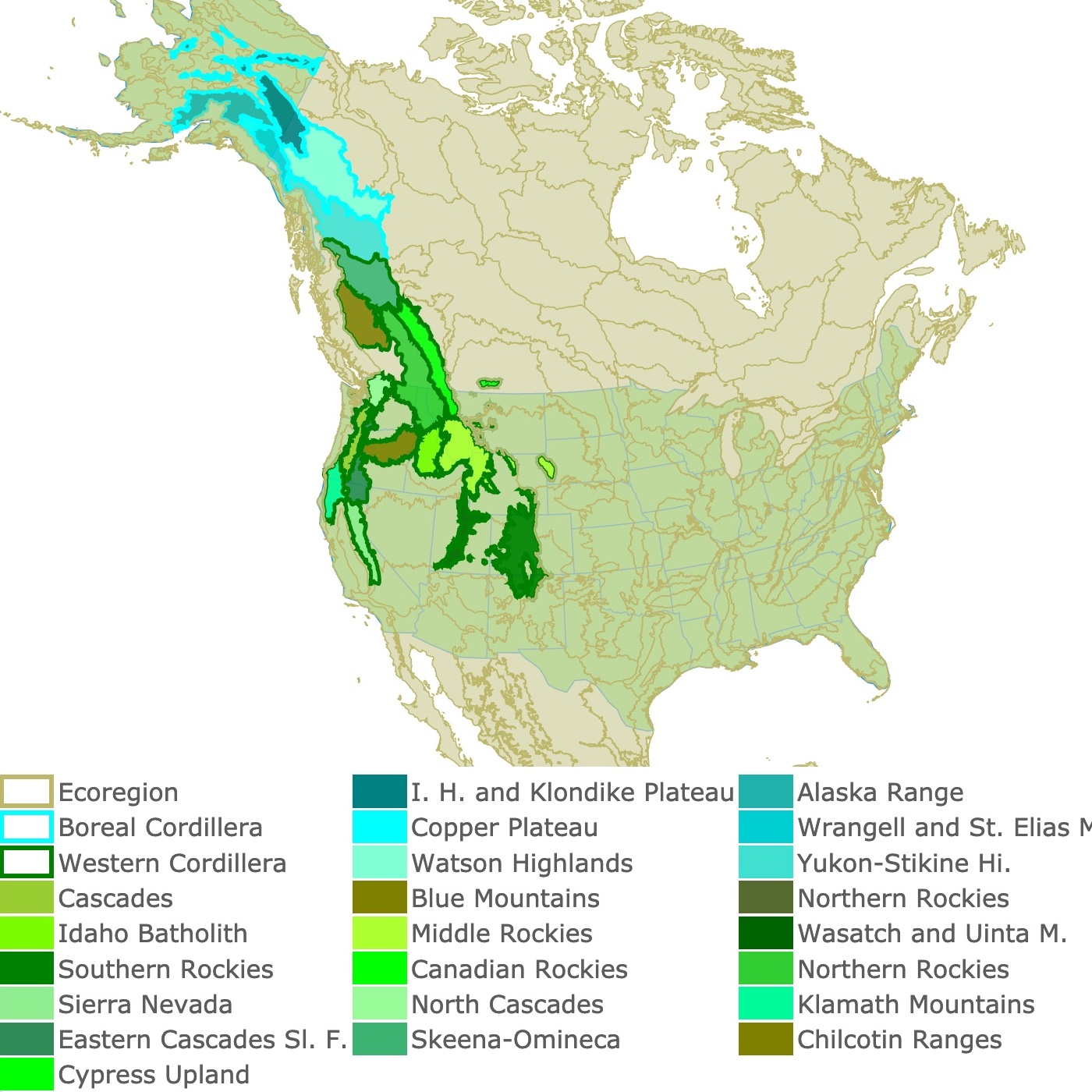 Map of America's Northwestern mountains
