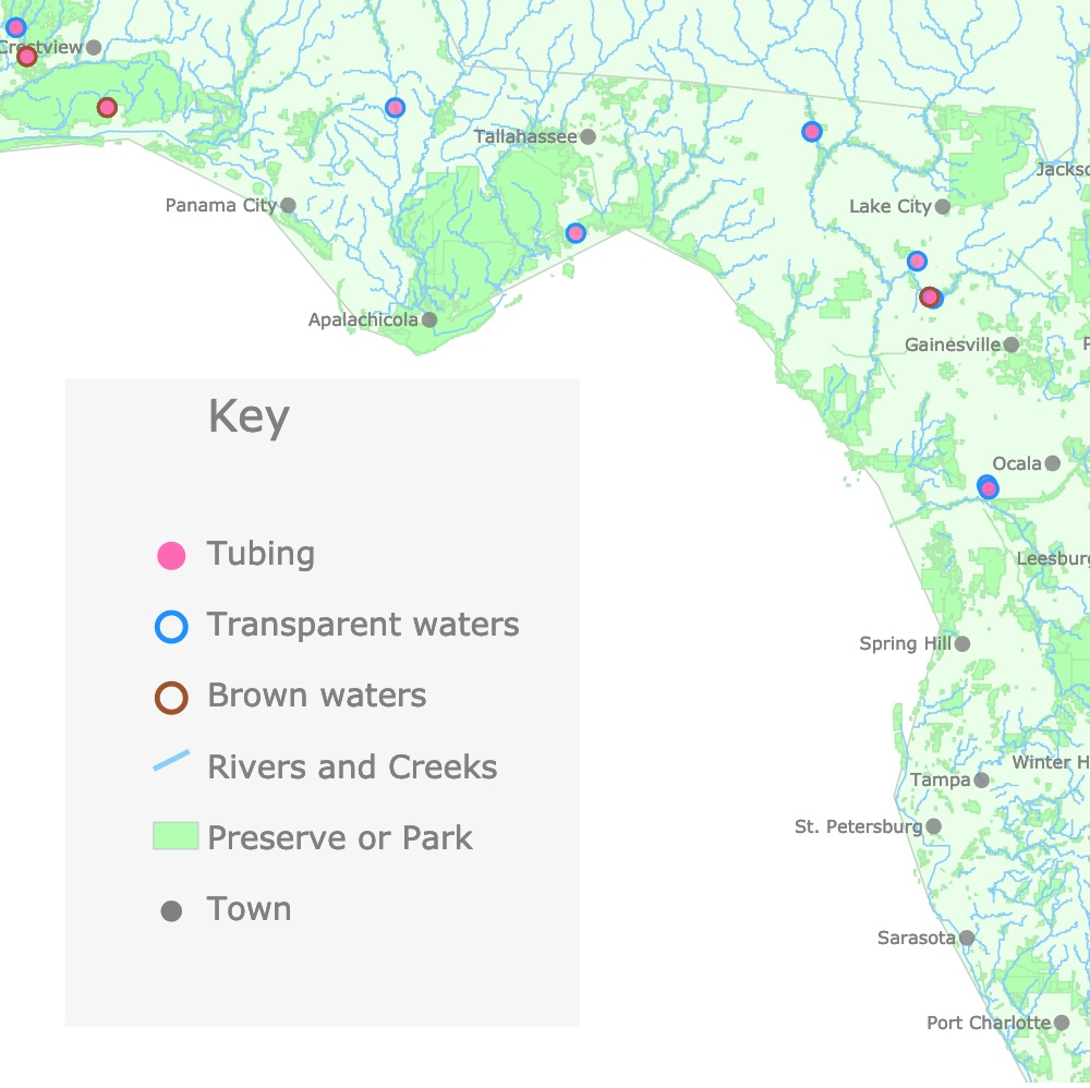 Interactive map of Florida's Lazy Rivers, Creeks, Parks and Springs.