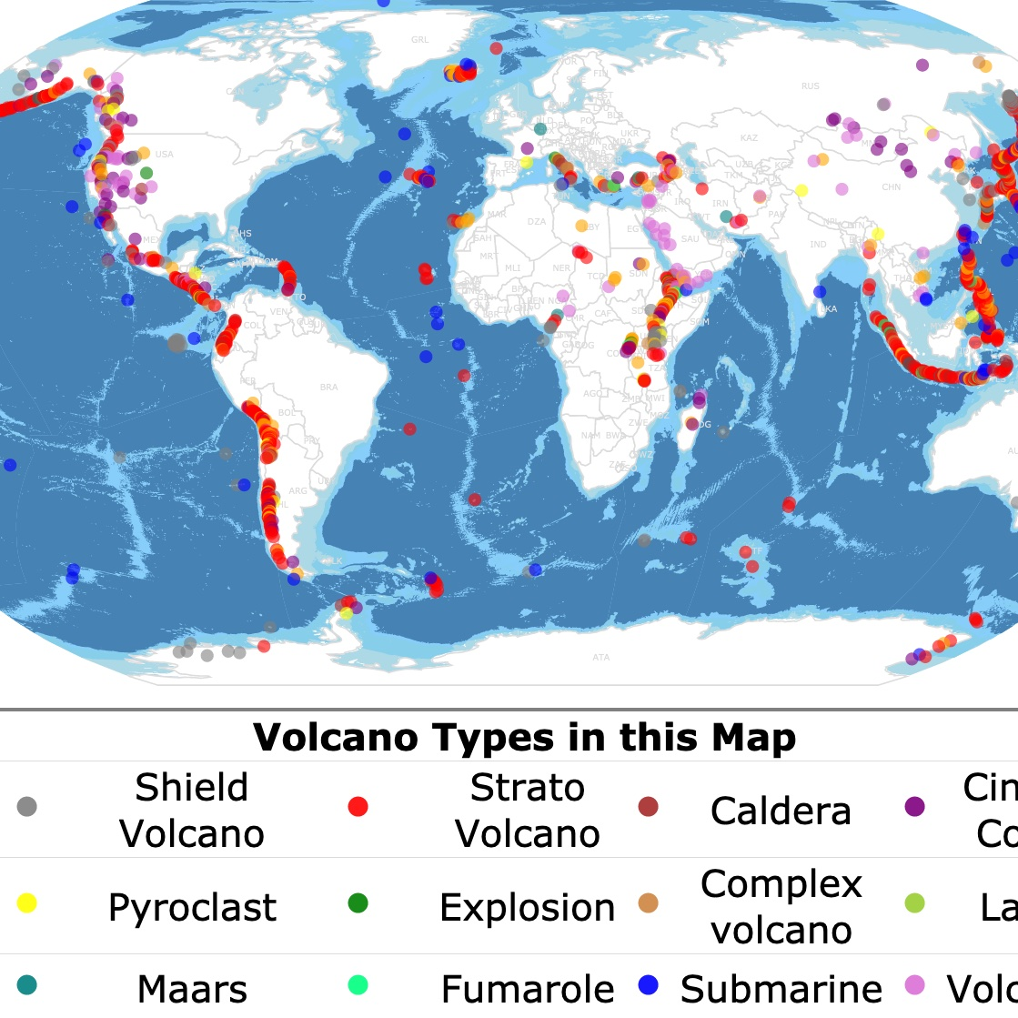 Interactive map of volcanoes and classification around the world