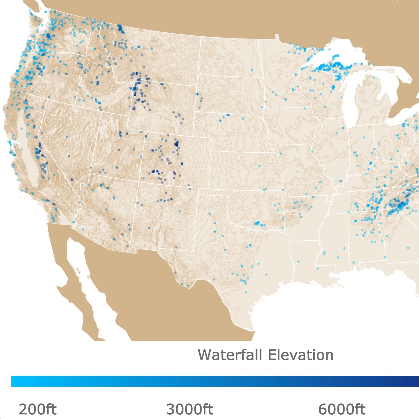 Map of waterfalls in the US